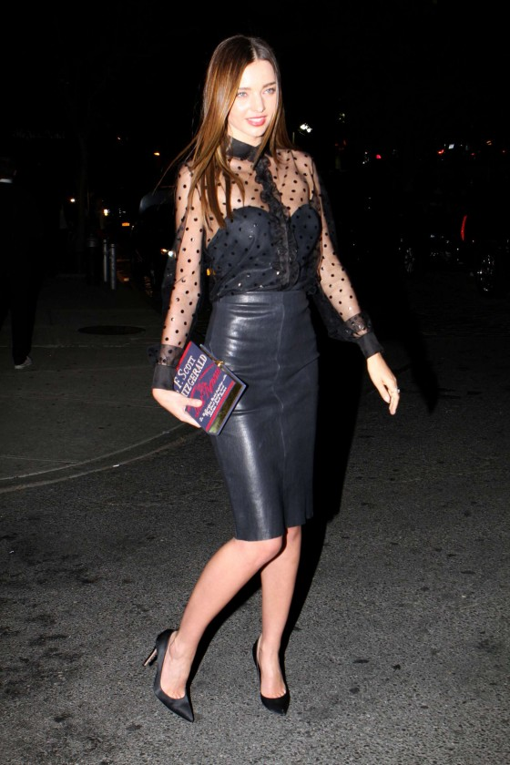 Miranda Kerr in leather dress out in NYC -09