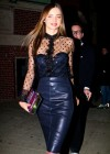 Miranda Kerr in leather dress out in NYC -14
