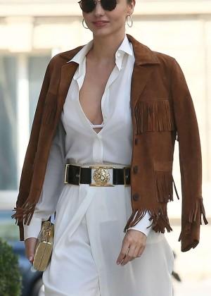 Miranda Kerr seen returning to The Peninsula Hotel in Paris