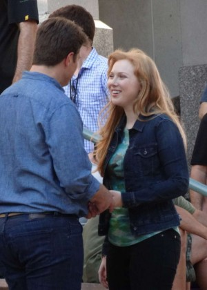 "Molly Quinn Filming ""Castle"" movie set"