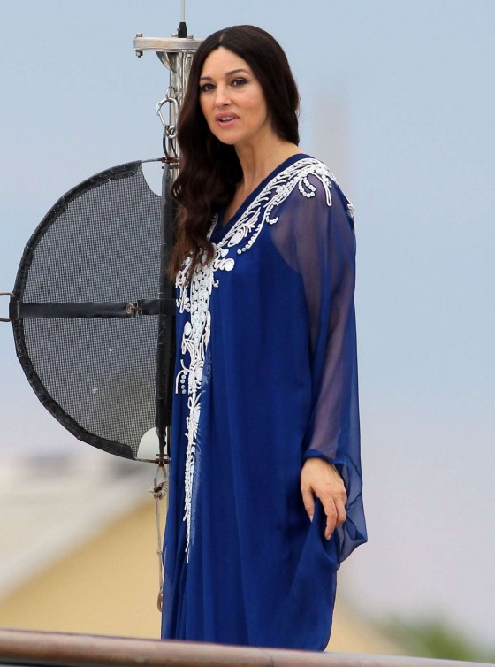 "Monica Bellucci - Filming ""Des Gens Qui S'Embrassent"" on a yacht in St. Tropez"