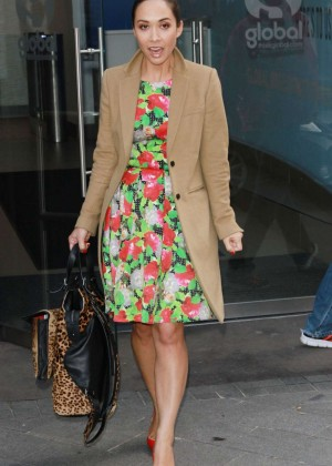 Myleene Klass in Floral Dress Leaves Global Radio in London