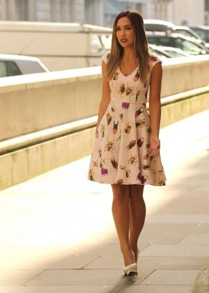 Myleene Klass in Mini Dress Filming a 'Littlewoods' Advert in London