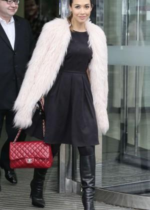 Myleene Klass in Black Dress - Out in London