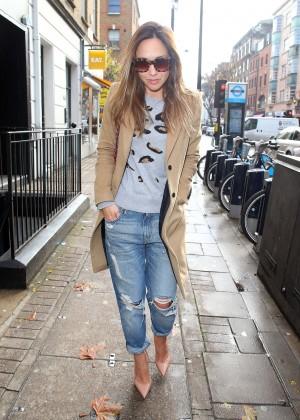 Myleene Klass in Ripped Jeans out in London