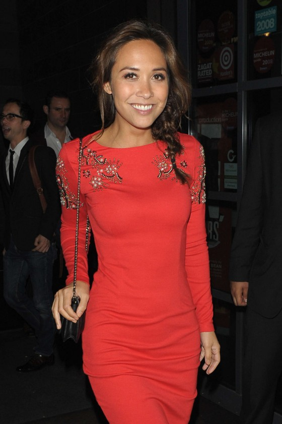 Myleene Klass in Red Dress at One ManTwo Guvnors Press Night -01
