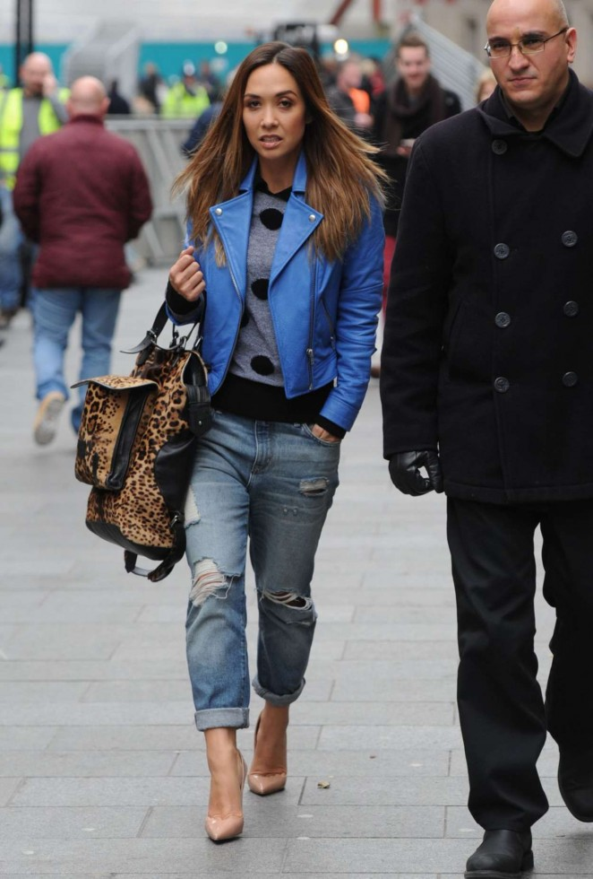 Myleene Klass in Ripped Jeans Out and About in London