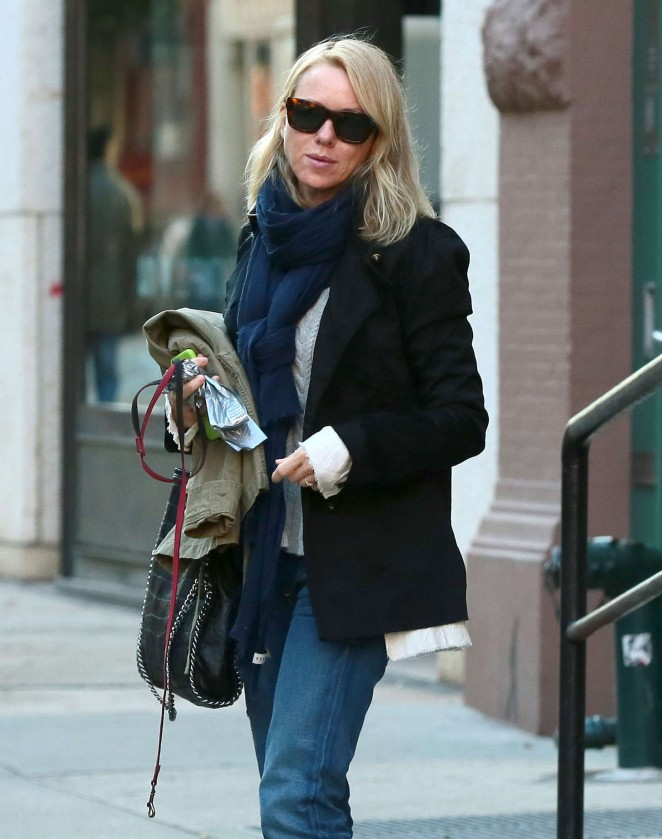 Naomi Watts in Jeans Leaving her apartment in NYC
