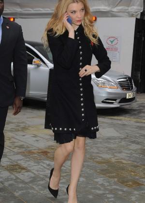 Natalie Dormer in Black Coat Out in London