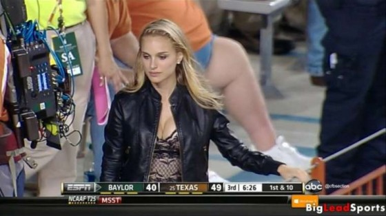 Natalie Portman showing cleavage in Game Baylor vs Texas