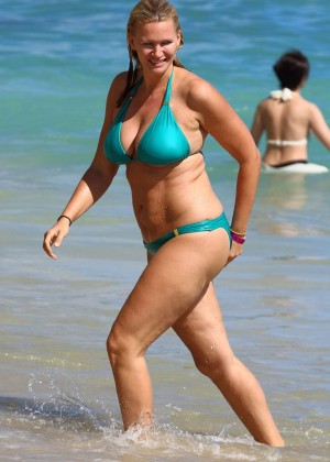 Natasha Henstridge bikini candids at a beach in Hawaii