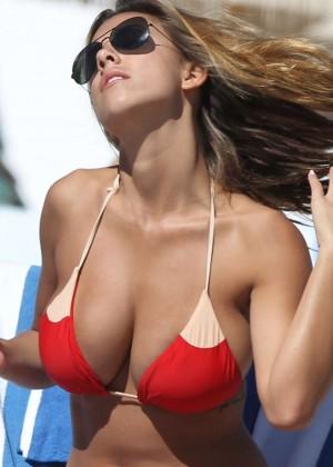 Natasha Oakley and Devin Brugman - Red Bikini Candids on Miami Beach -05