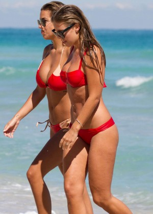 Natasha Oakley and Devin Brugman - Red Bikini Candids on Miami Beach -11
