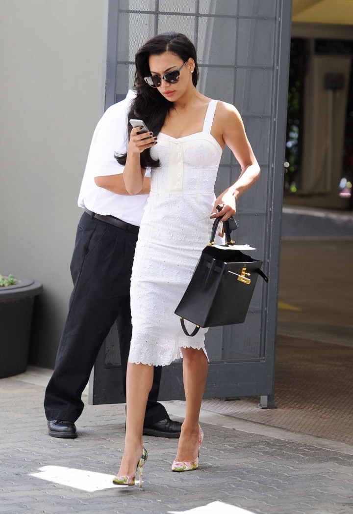 Naya Rivera in White Dress -09