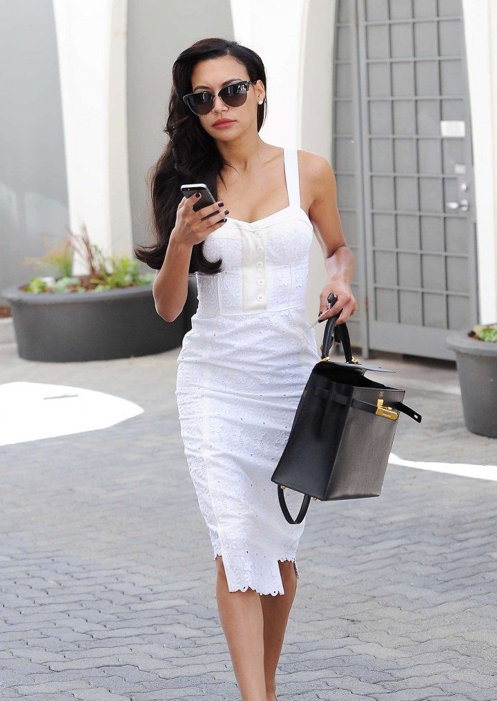 Naya Rivera in White Dress out in Beverly Hills