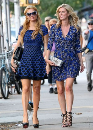 Nicky and Paris Hilton in Mini Dress out in SoHo