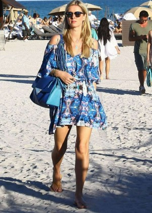 In Blue Mini Dress Out Miami Beach