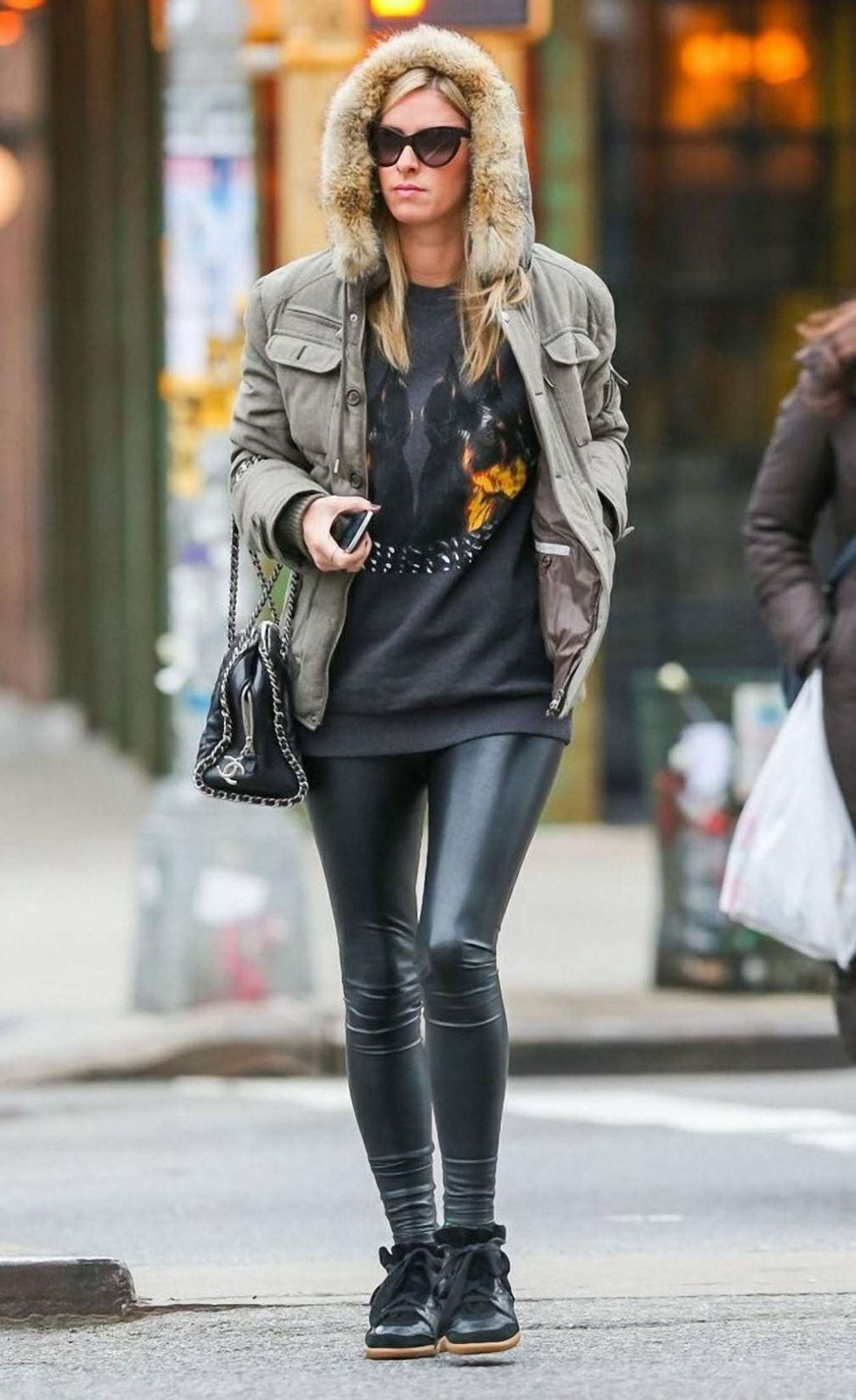 Nicky Hilton in Leather - Out in New York City