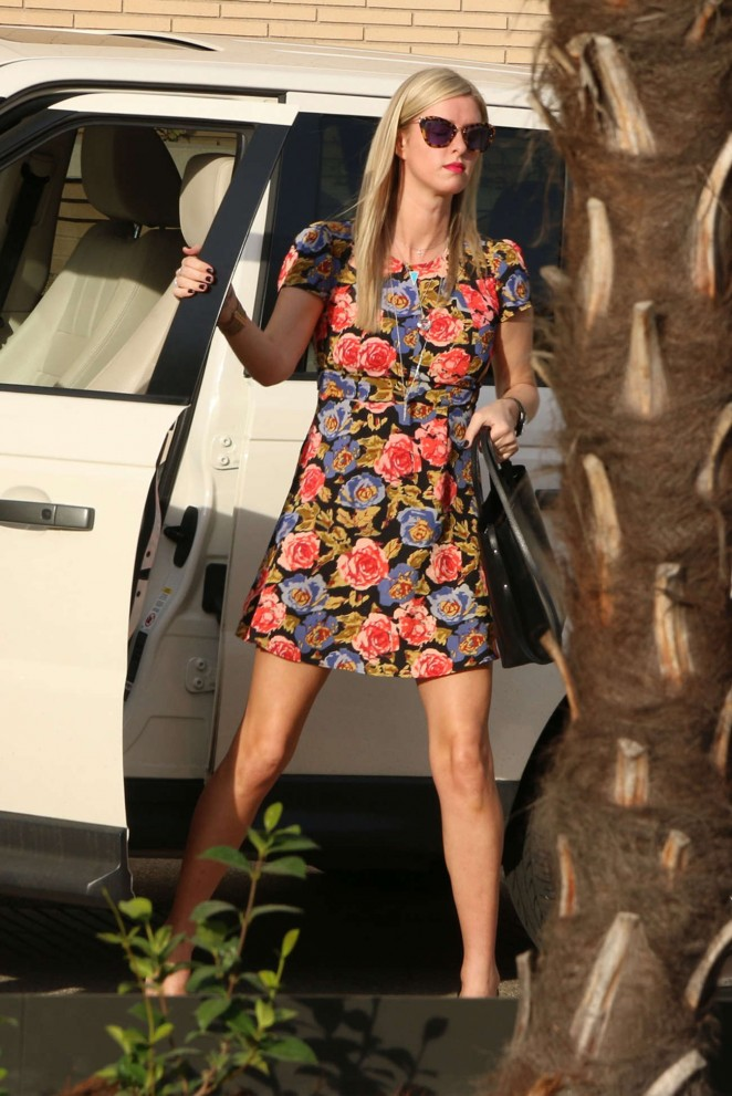Nicky Hilton in Floral Mini Dress Shopping in West Hollywood