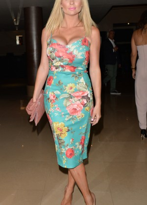 Nicola McLean in Floral Dress at Mayfair Hotel in London