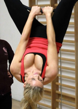 Nicola McLean in Leggings on a Trapeze -06