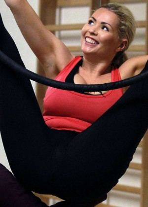 Nicola McLean in Leggings on a Trapeze -09