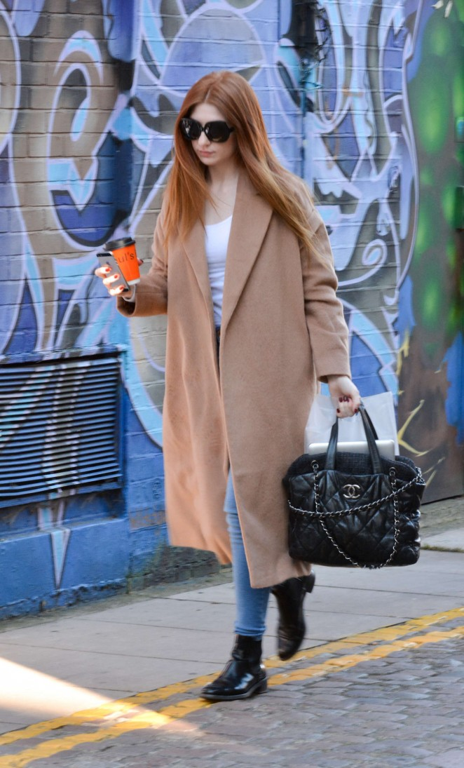 Nicola Roberts in Long Coat and Jeans Arriving at a West London Recording Studio