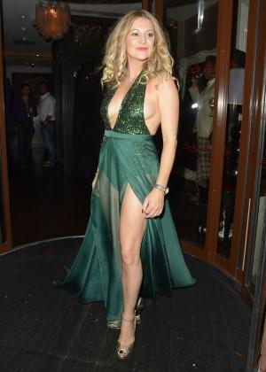 Nicola Stapleton in Green Dress Celebrating Her 40th Birthday in London