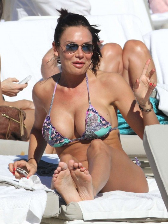 Nicole Minetti Wearing Purple Thong Bikini in Miami
