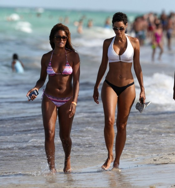 Nicole Mitchell and Claudia Jordan - Bikinis Candids in Miami -12