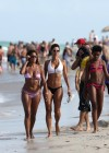Nicole Mitchell and Claudia Jordan - Bikinis Candids in Miami -17