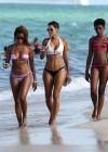 Nicole Mitchell and Claudia Jordan - Bikinis Candids in Miami -19