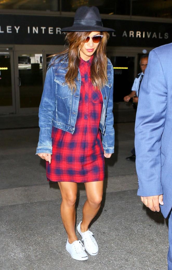 Nicole Scherzinger in Short Dress at LAX Airport in Los Angeles
