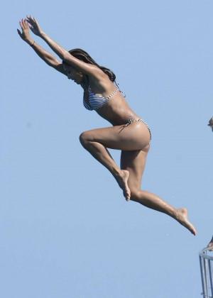 Nicole Scherzinger bikini jump on a yacht in Ibiza