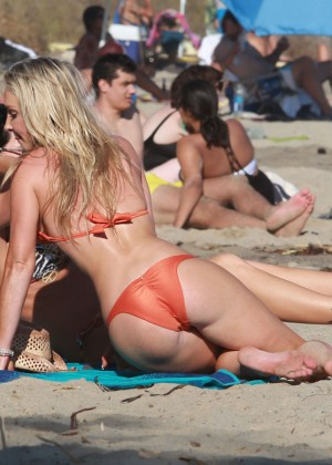 Nikki Lund With Friend Bikinis Candids in Malibu