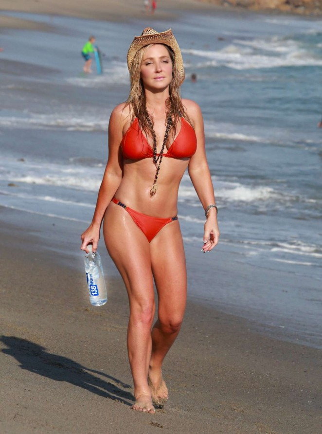 Nikki Lund in Red Bikini on the Beach in Malibu