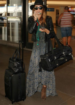 Nikki Reed in Long Dress at LAX in LA