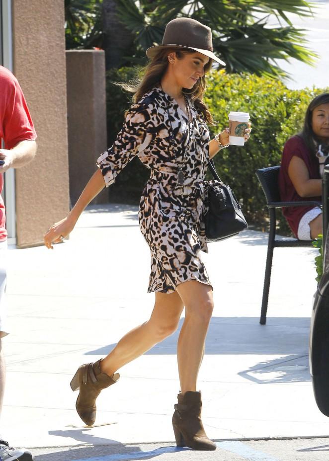 Nikki Reed in Mini Dresas at Starbucks in Hollywood