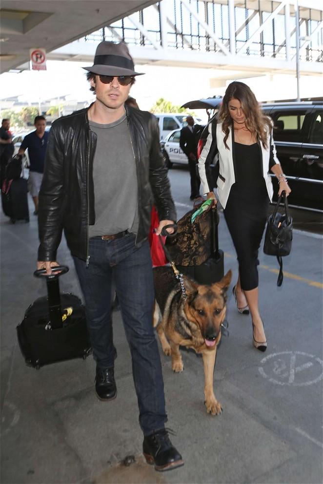 Nikki Reed & Ian Somerhalder at LAX Airport in LAX
