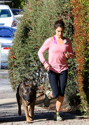 Nikki Reed in Leggings Jogging with her dog in LA