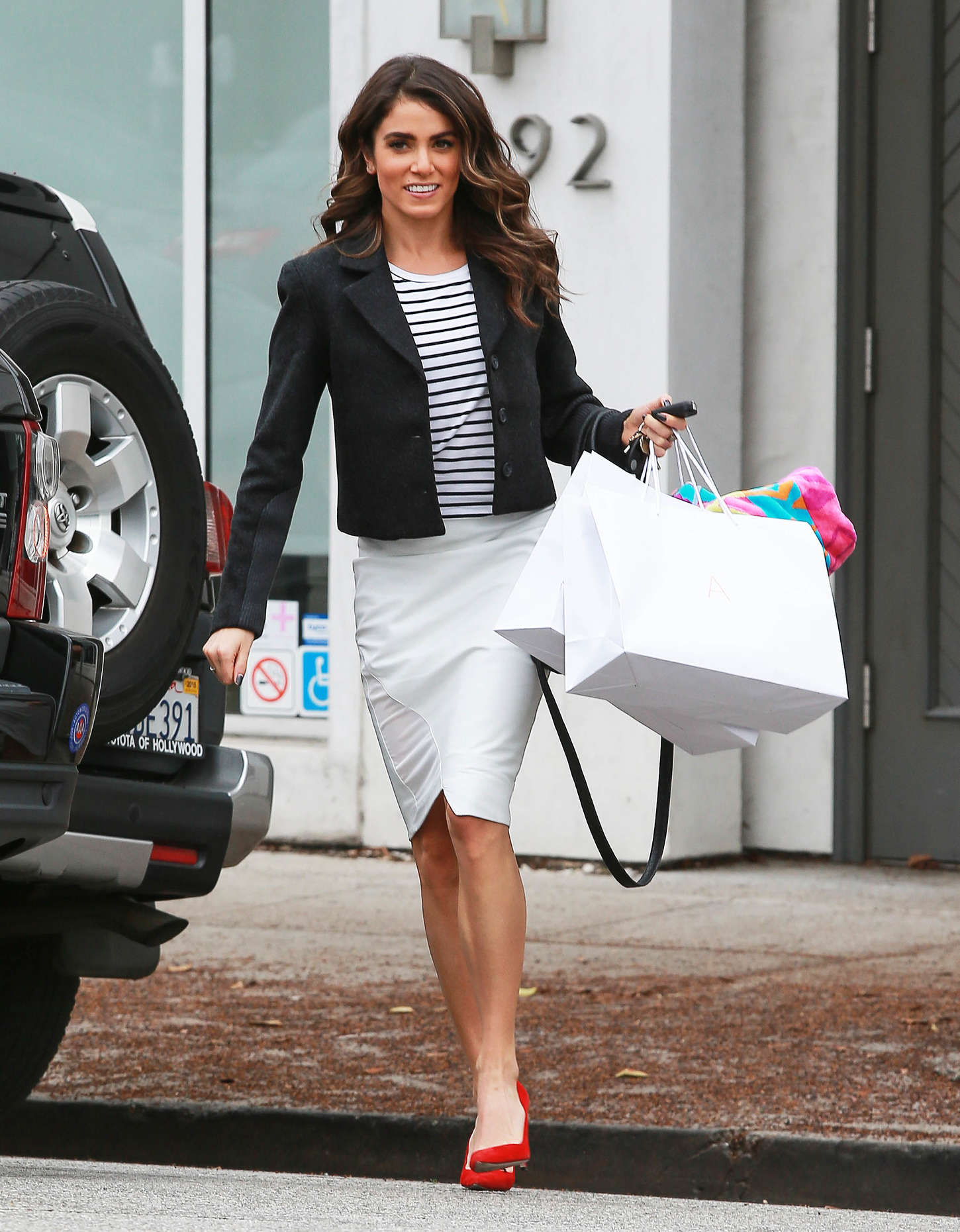 Nikki Reed In White Skirt Out In La