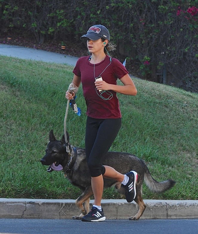 Nikki Reed in Spandex Takes her dog for a run in LA