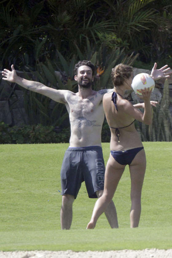 Nina Agdal in a Bikini as she Plays Ball with Adam Levine in Mexico