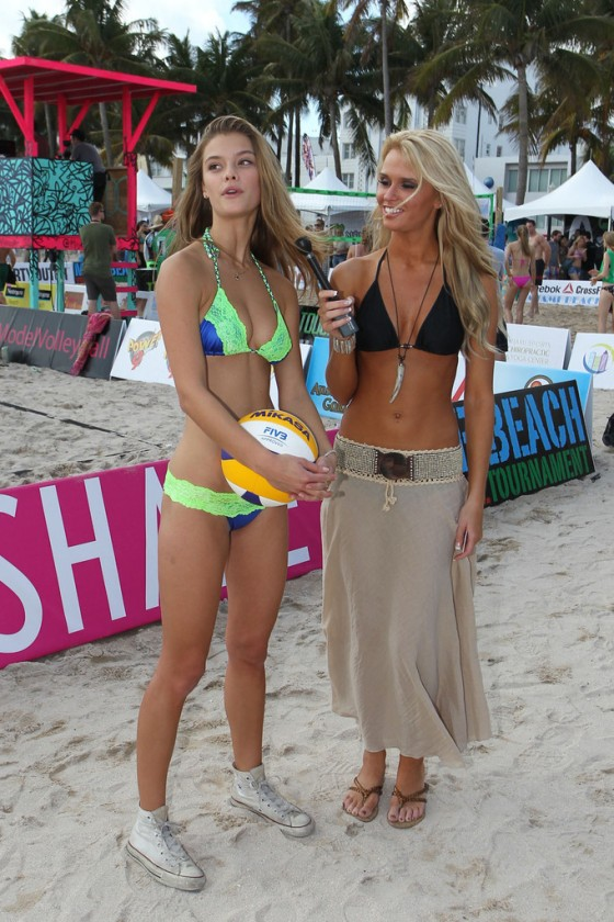 Nina Agdal at Beach Volleyball event 2013 in Miami Beach-21