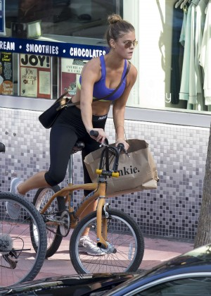 Nina Agdal in Leggings and Sports Bra Riding a Bike in Miami