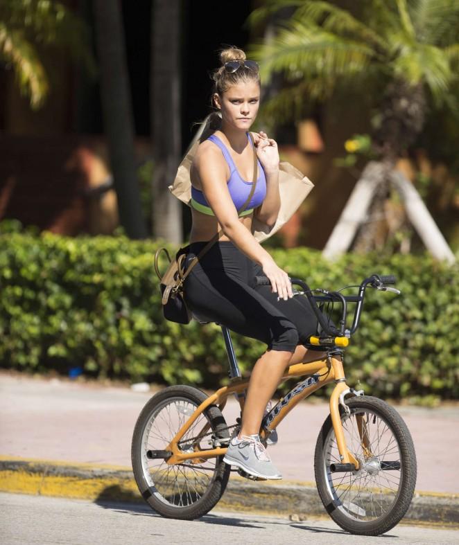 Nina Agdal in Leggings and Sports Bra Riding a Bike -13 ...