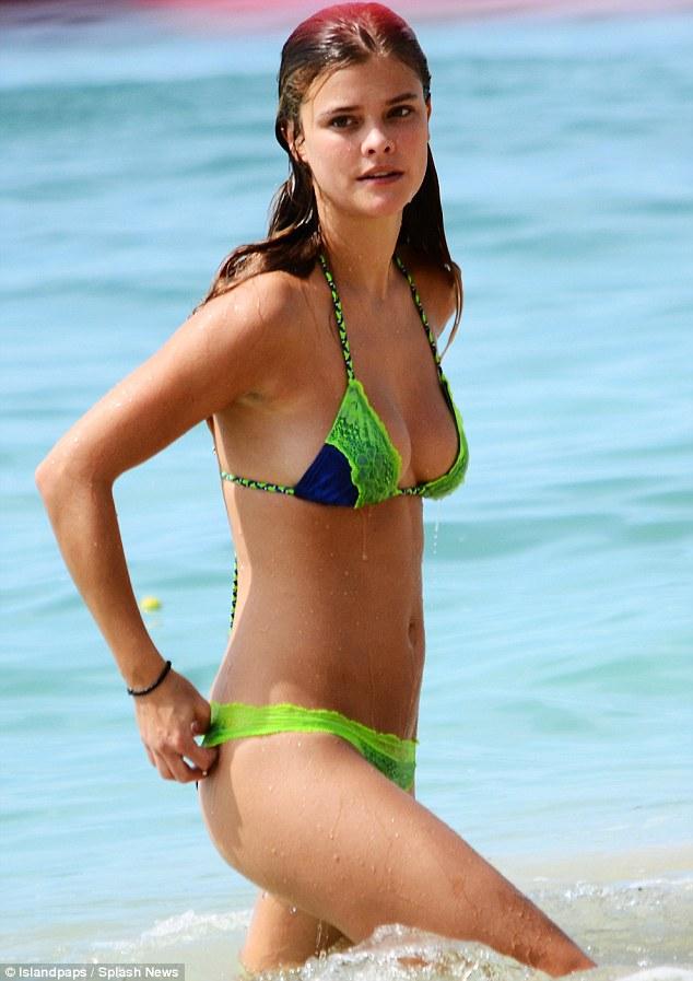 Nina Agdal Wearing Bikini On The Beach In Barbados