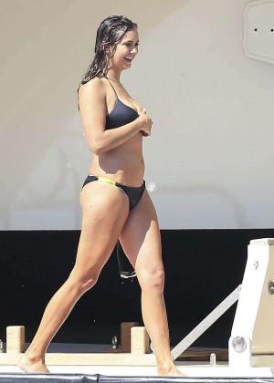 Nina Dobrev in black bikini on a Yacht in Ibiza