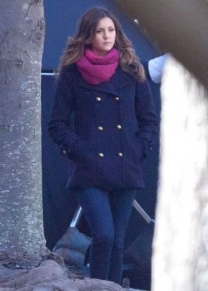Nina Dobrev on the Set of The Vampire Diaries in Atlanta