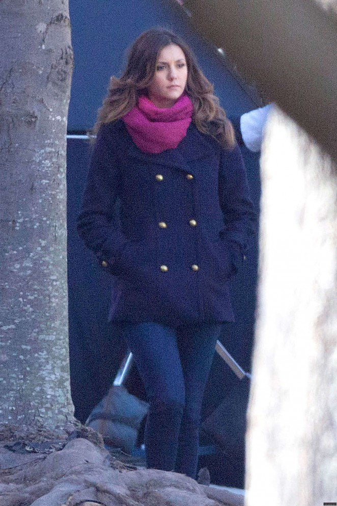 Nina Dobrev on the Set of The Vampire Diaries in Atlanta